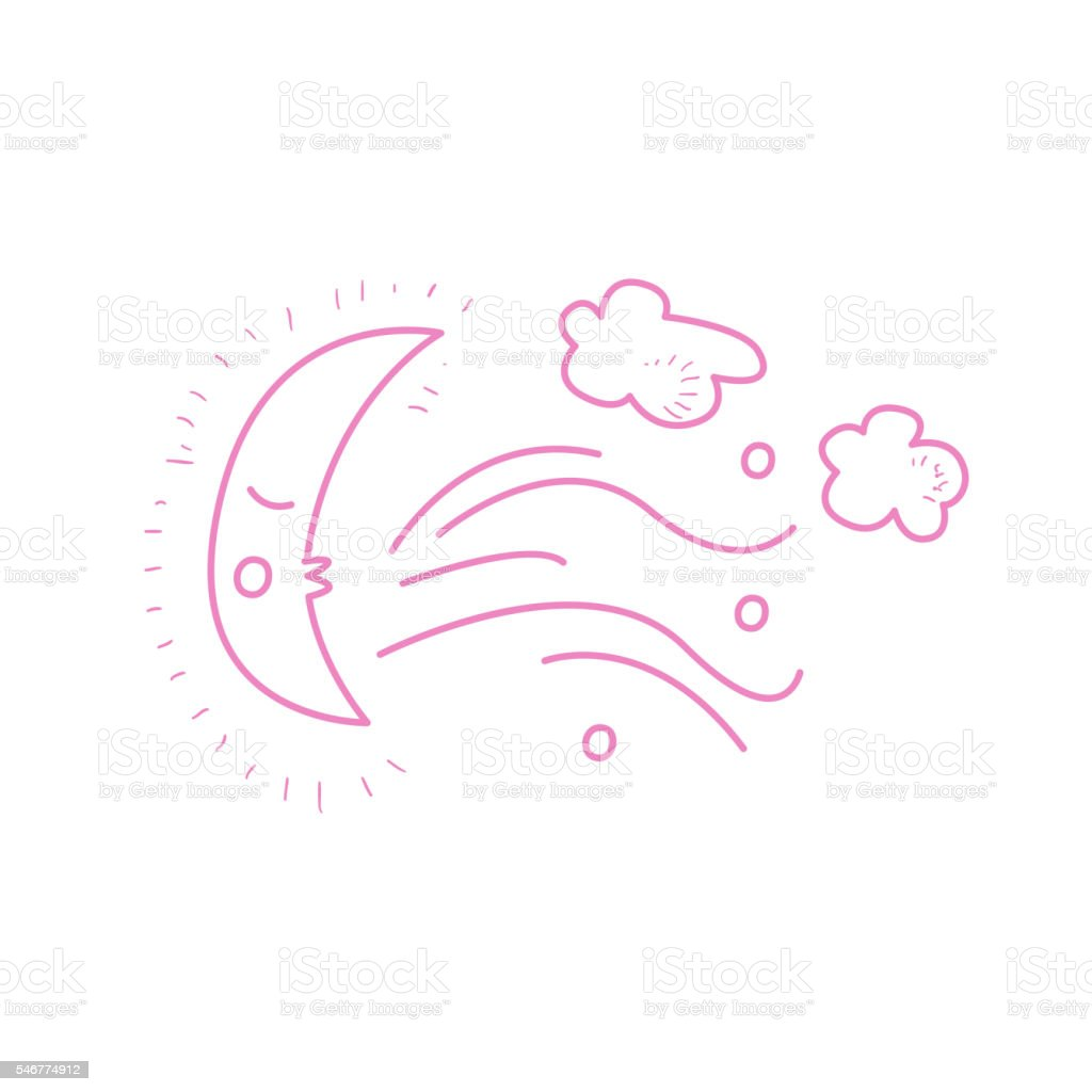 Moon Crescent Blowing The Wind vector art illustration