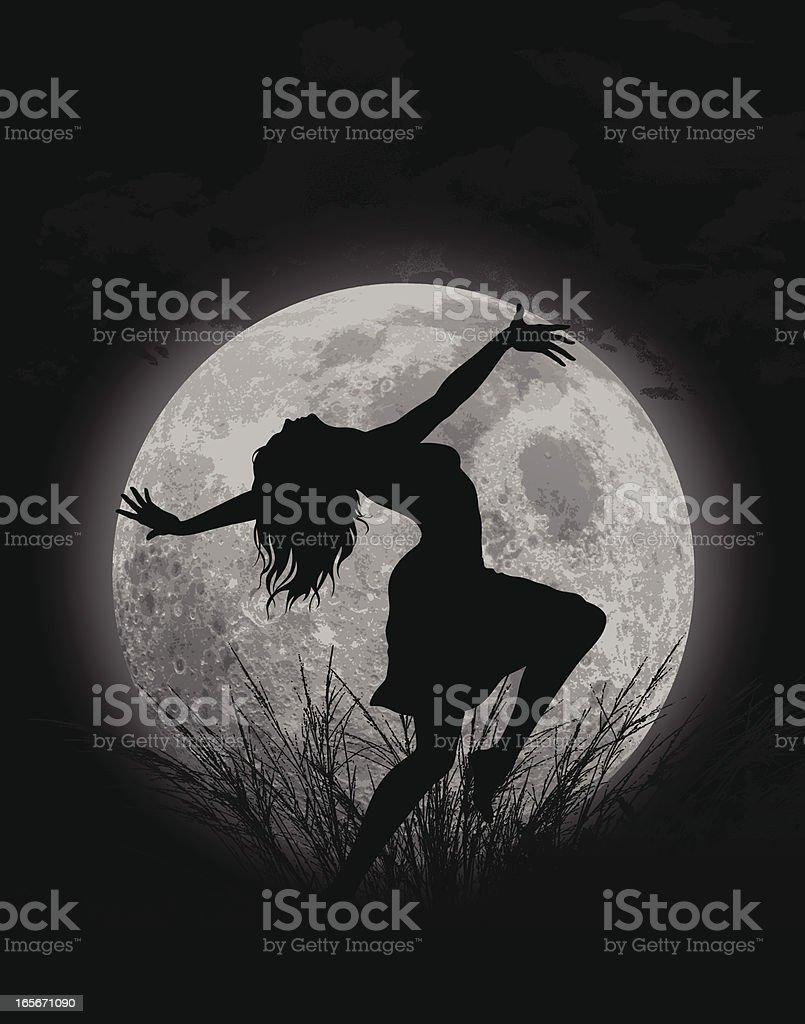 Moon Dance vector art illustration