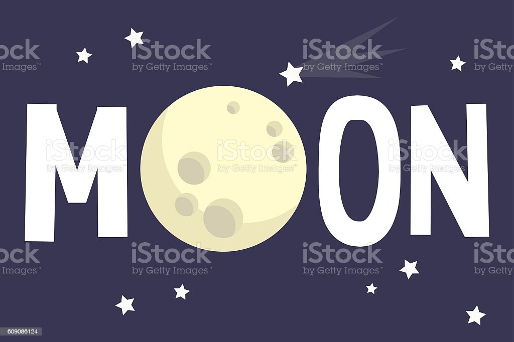 Moon illustrated sign vector art illustration