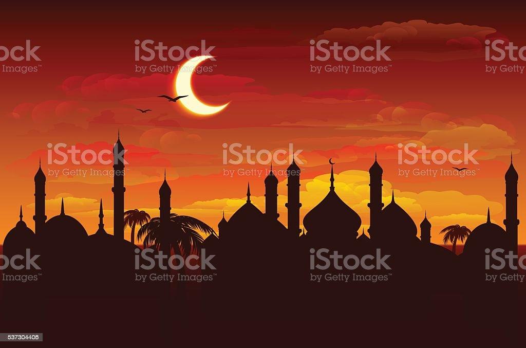Moon in night sky over mosque. Ramadan Kareem background vector art illustration