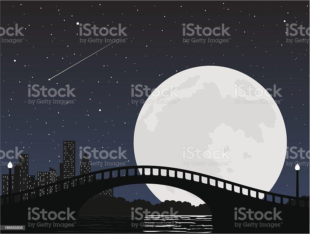 Moon over a city park bridge vector art illustration