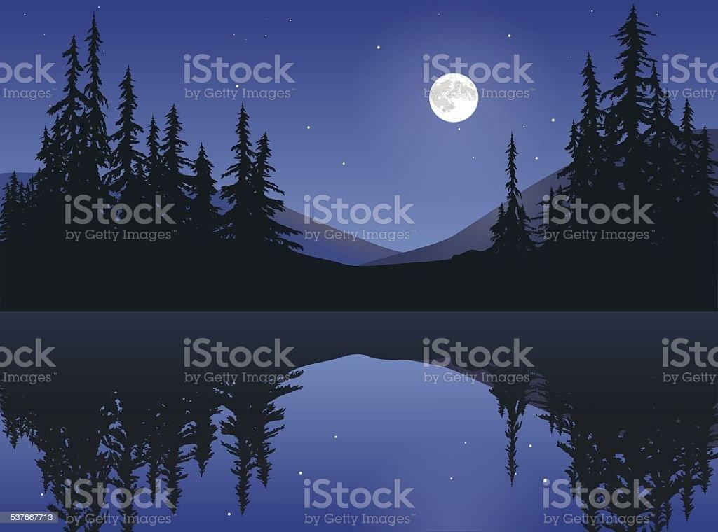 Moon Over Calm Lake vector art illustration