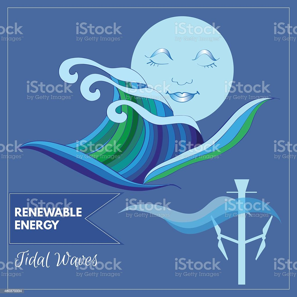 Moon over ocean representing tidal waves as energy source vector art illustration