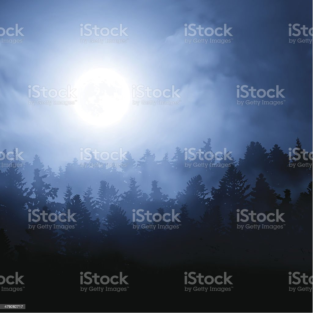 Moon over the forest royalty-free stock vector art