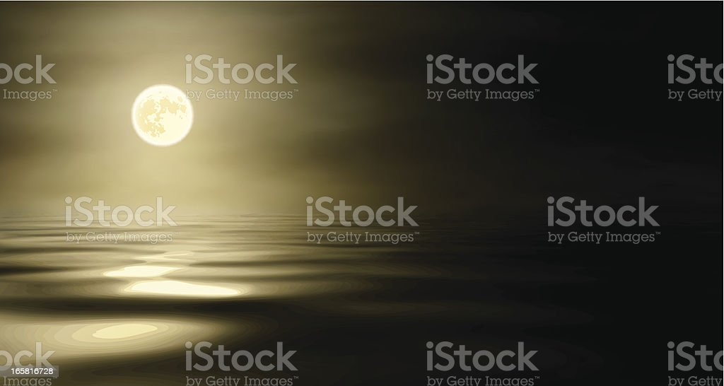 Moon over the water vector art illustration