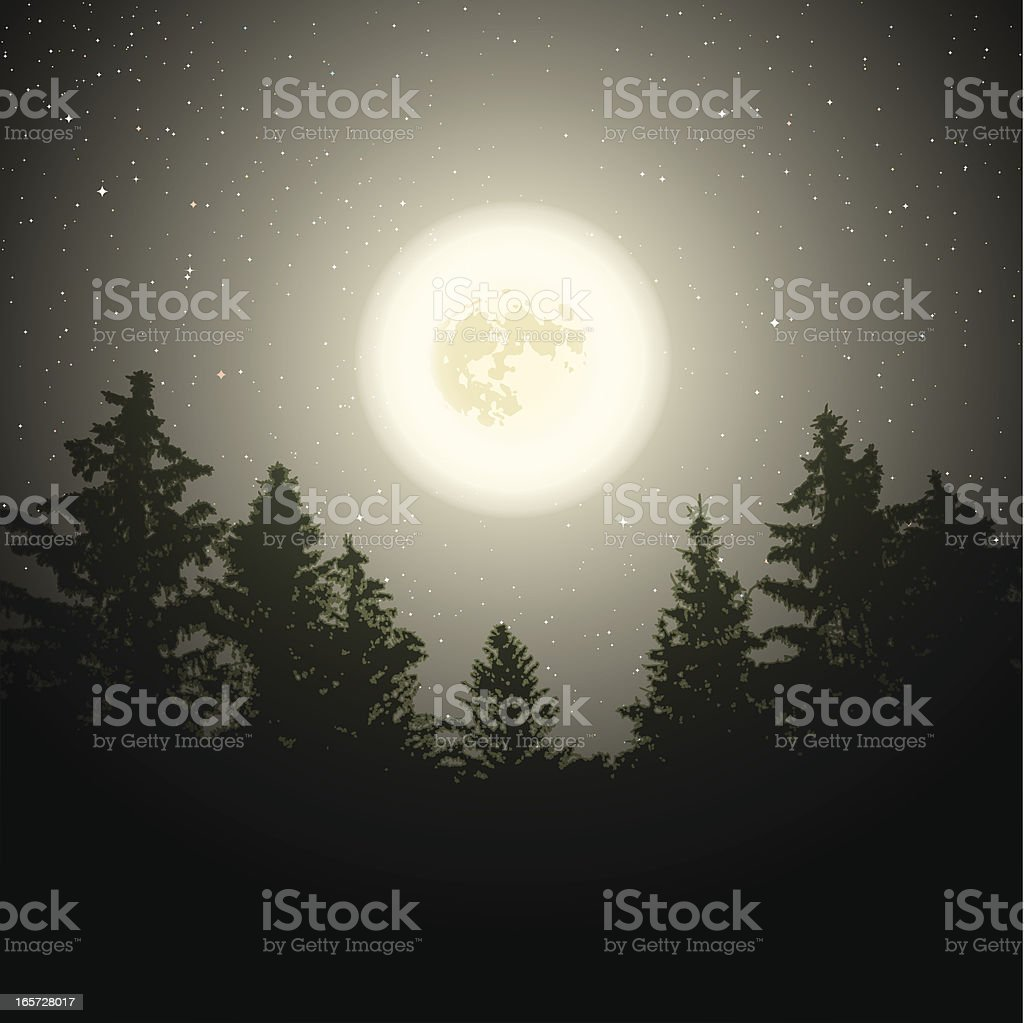 Moon over trees vector art illustration