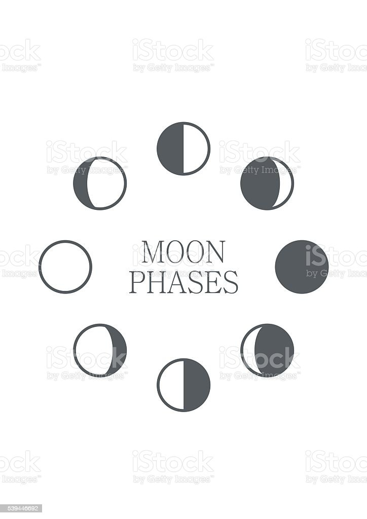 Moon phases icon night space astronomy sphere shadow. Gibbous vector art illustration