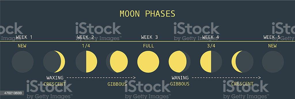 Moon Phases Northern Hemisphere vector art illustration