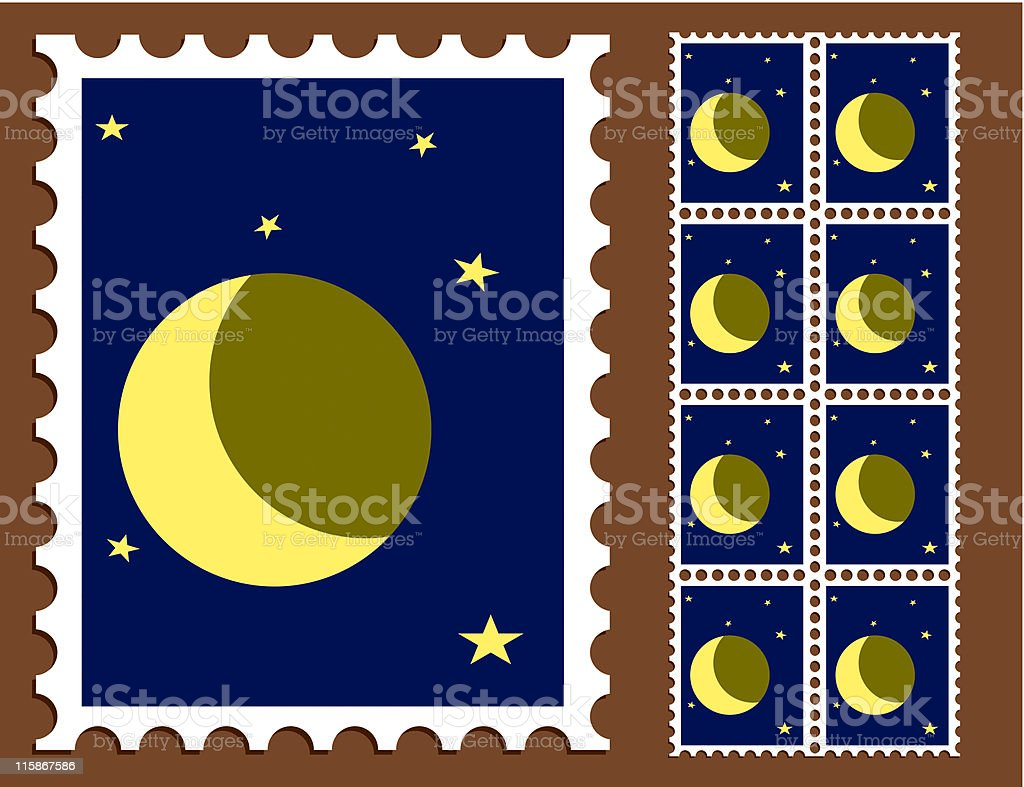 Moon Stamp royalty-free stock vector art