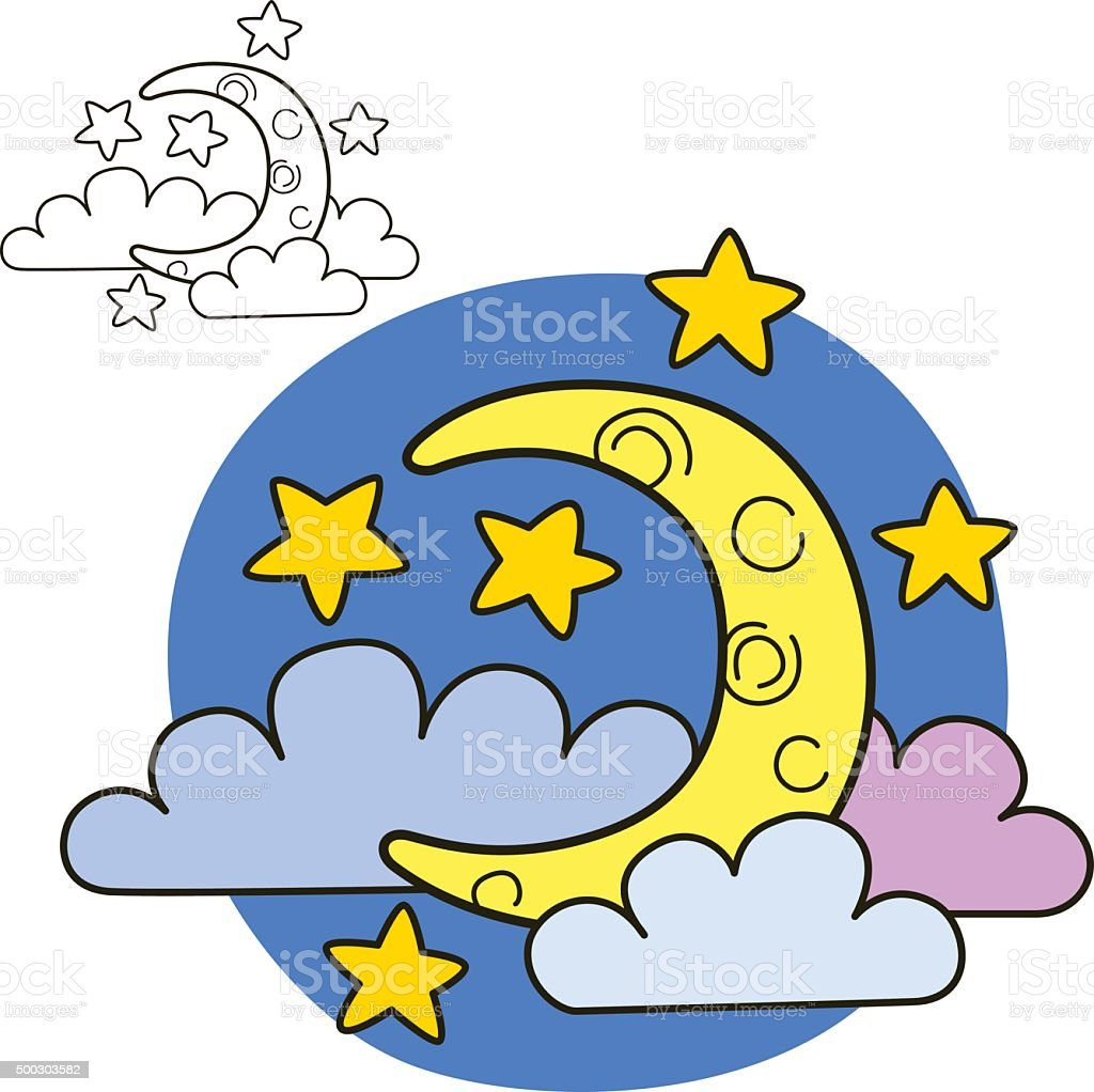 moon with stars and clouds coloring book page stock vector art