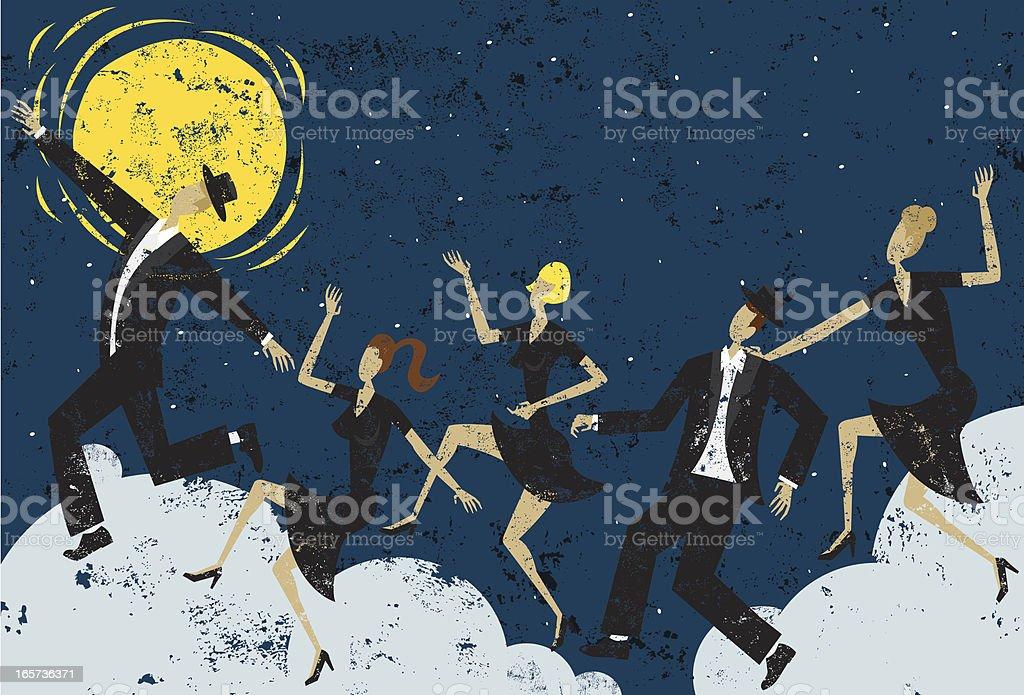 moonlight dancers vector art illustration