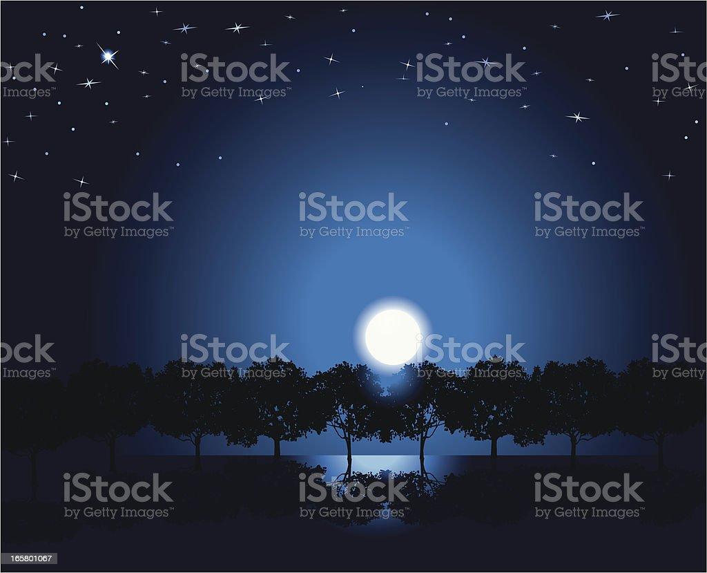 Moonlight Landscape Background vector art illustration