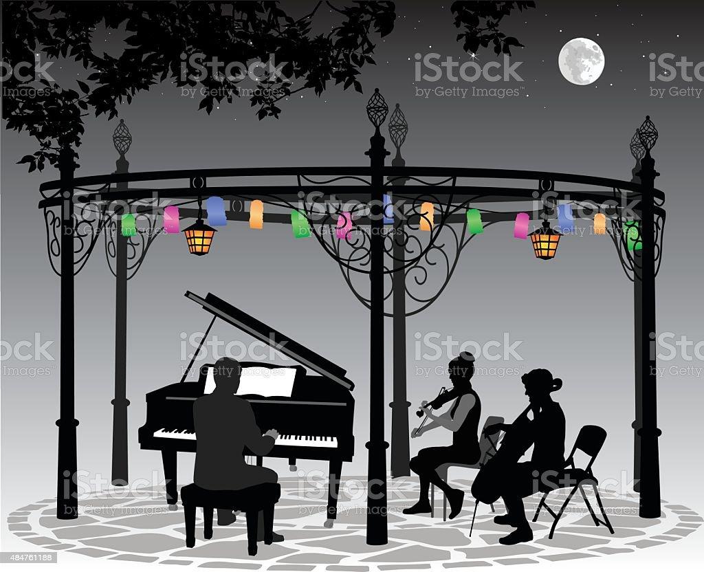 Moonlight Musical Performance With Lanterns vector art illustration