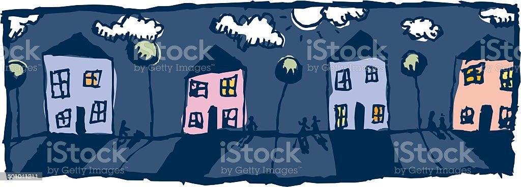 Moonlight Street royalty-free stock vector art