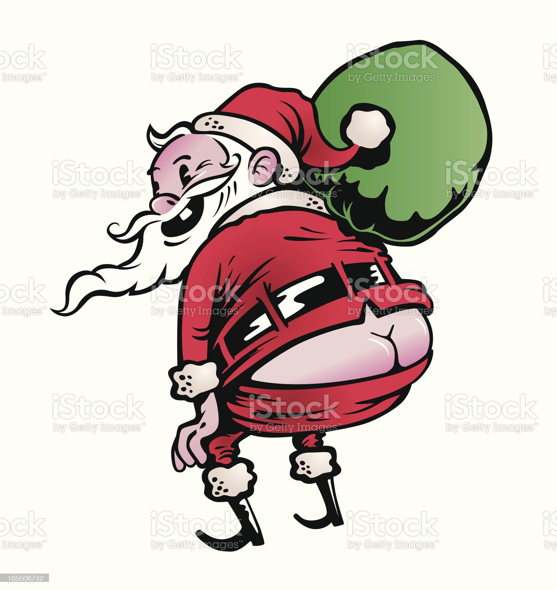 Moonlighting Santa royalty-free stock vector art