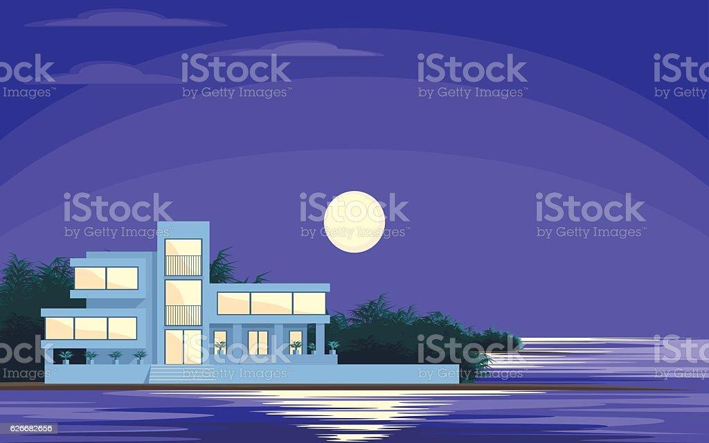moonlit night at sea vector art illustration