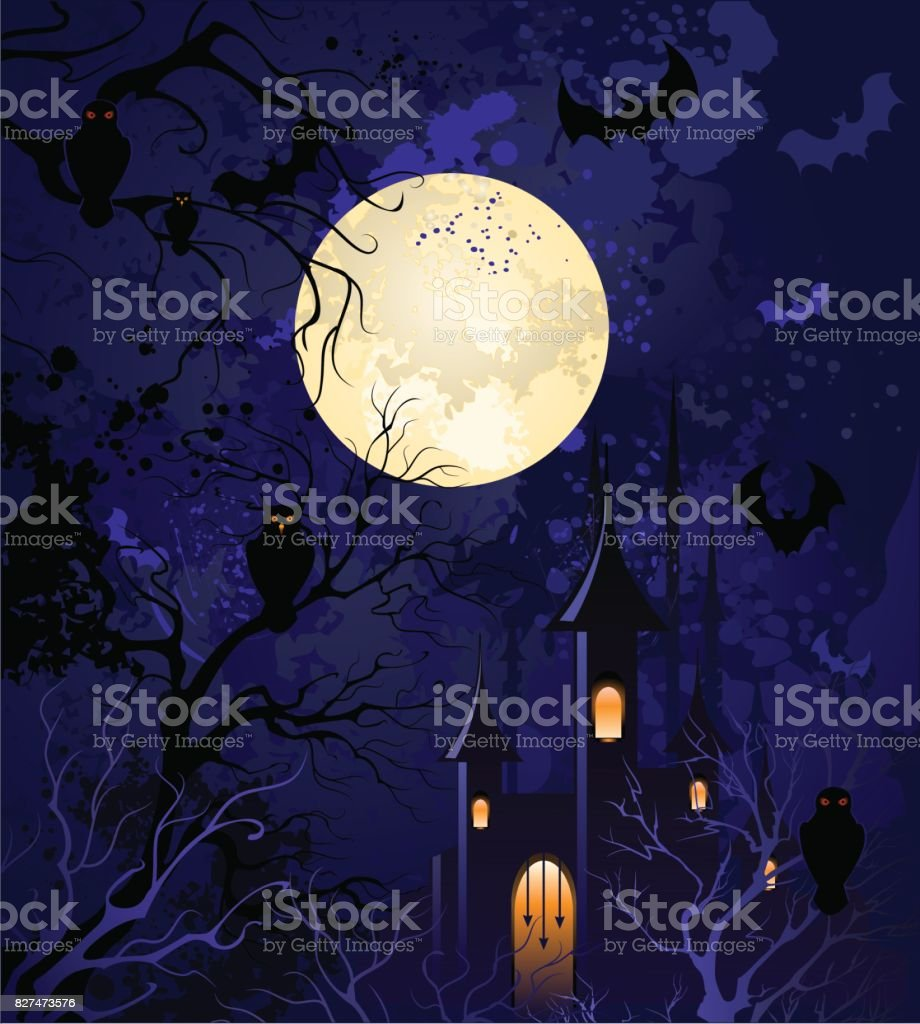 moonlit night on halloween vector art illustration