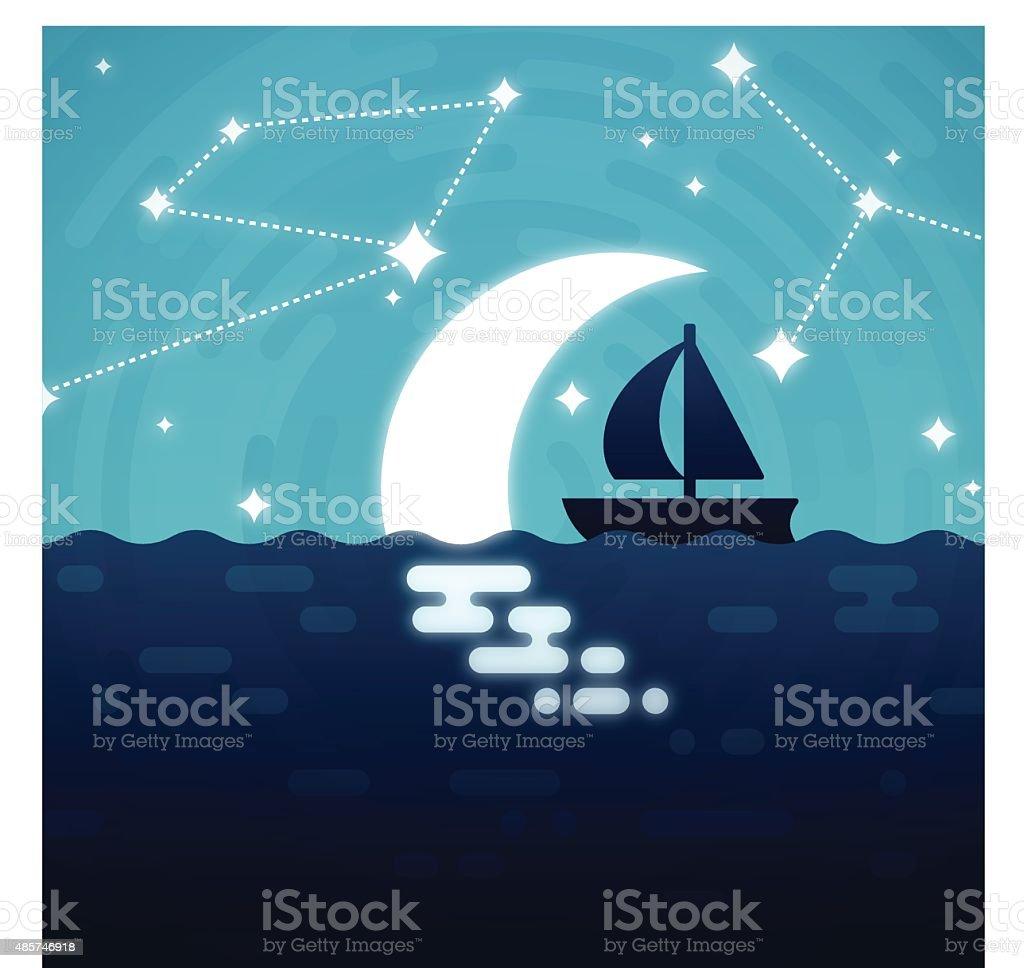 Moonlit Sailing Boat vector art illustration