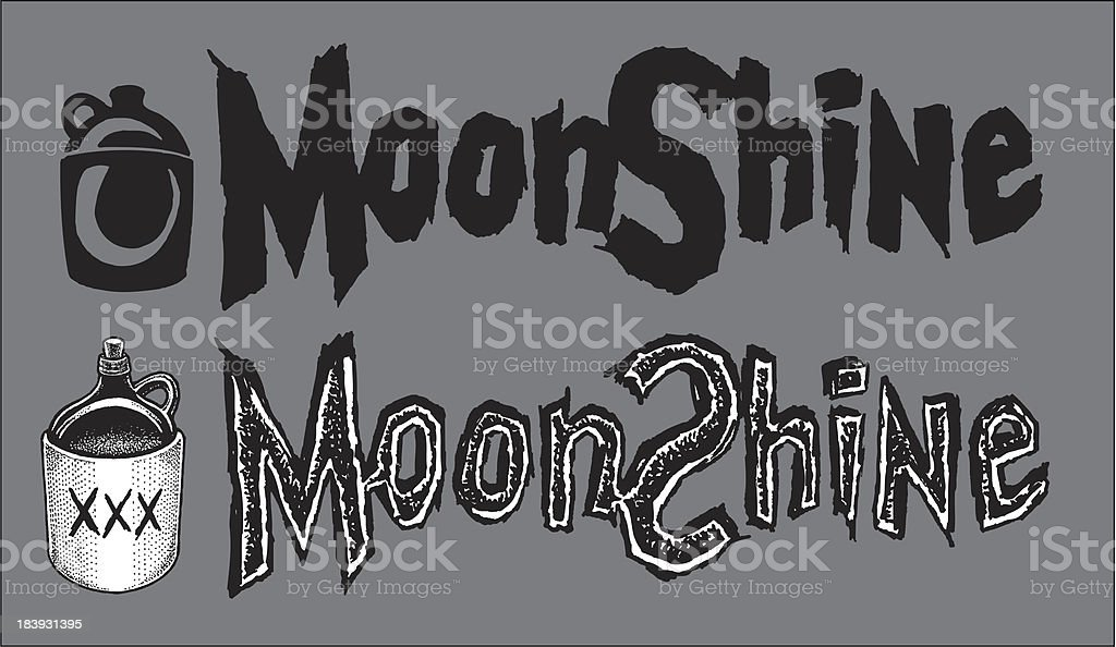 Moonshine - Jugs and Type royalty-free stock vector art