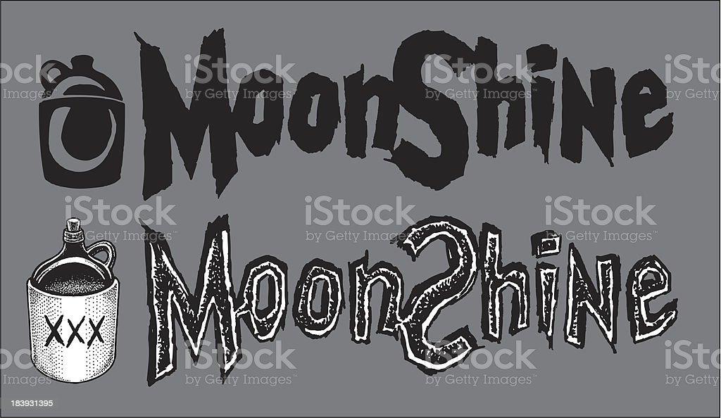 Moonshine - Jugs and Type vector art illustration