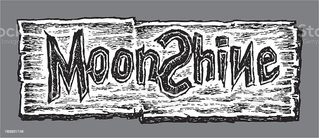 Moonshine - Wood Sign vector art illustration