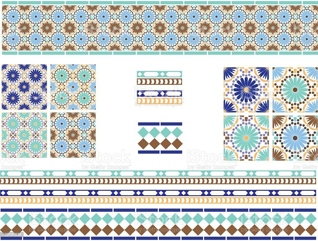 Moorish, Spanish Andalusian Tiles vector art illustration