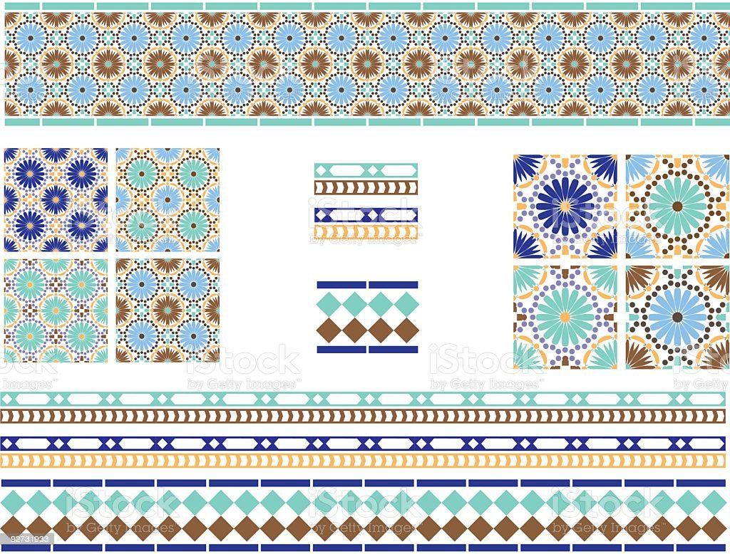 Moorish, Spanish Andalusian Tiles vector art illustration