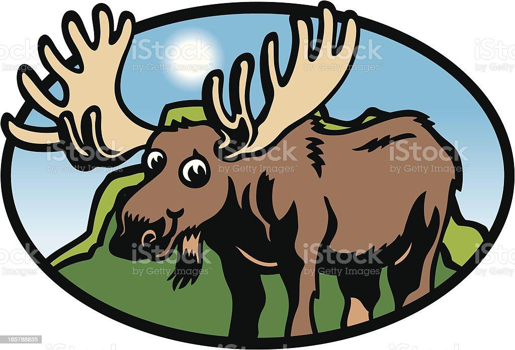 Moose Badge royalty-free stock vector art
