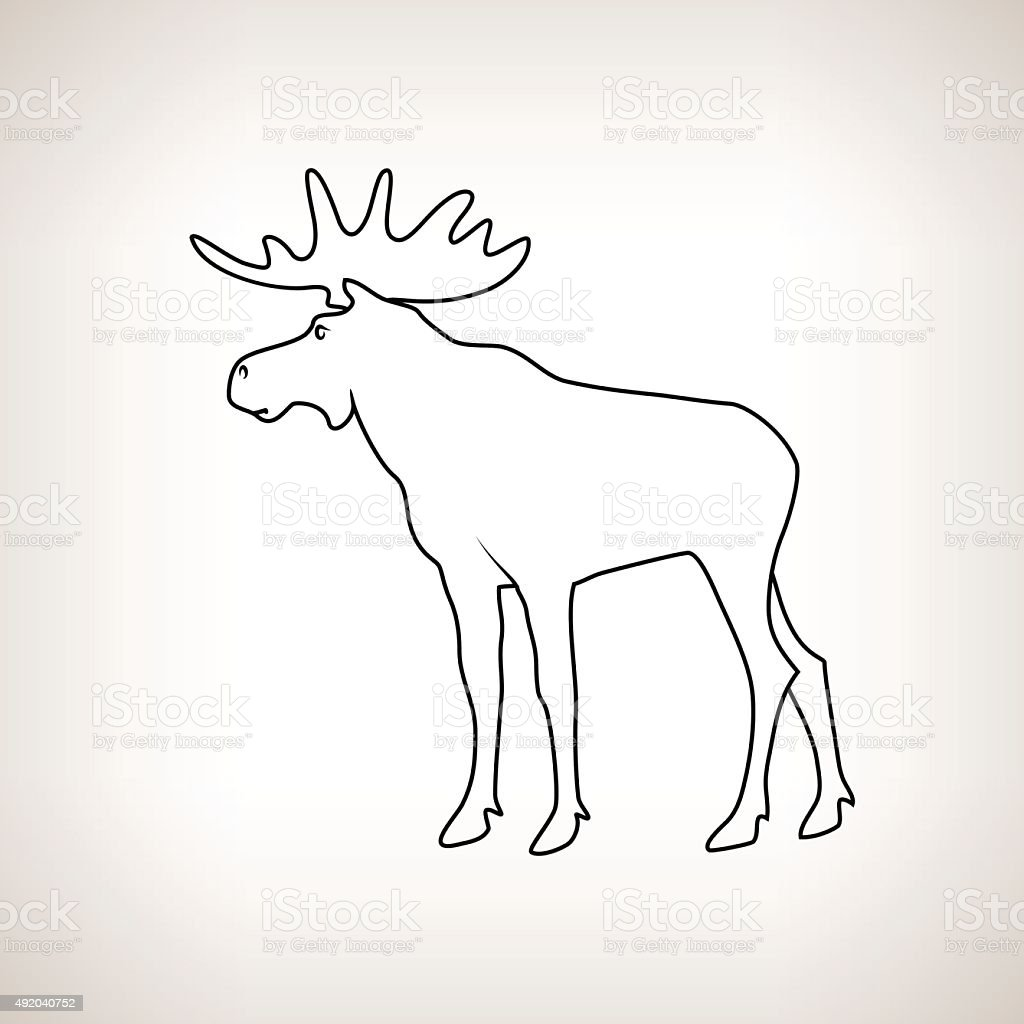Moose Bull with Antlers vector art illustration