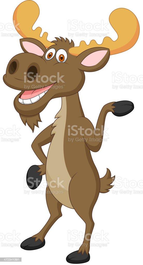 Moose cartoon waving royalty-free stock vector art