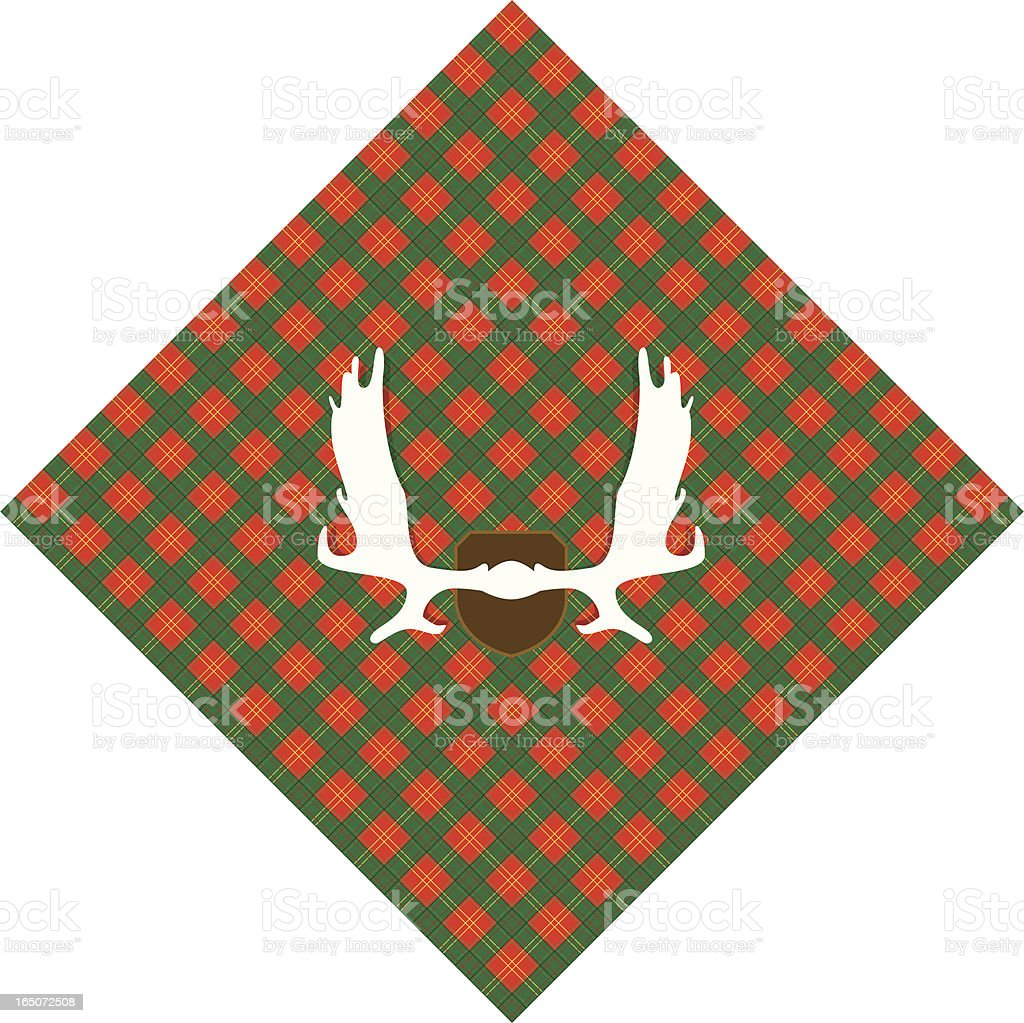 Moose Rack on Plaid royalty-free stock vector art
