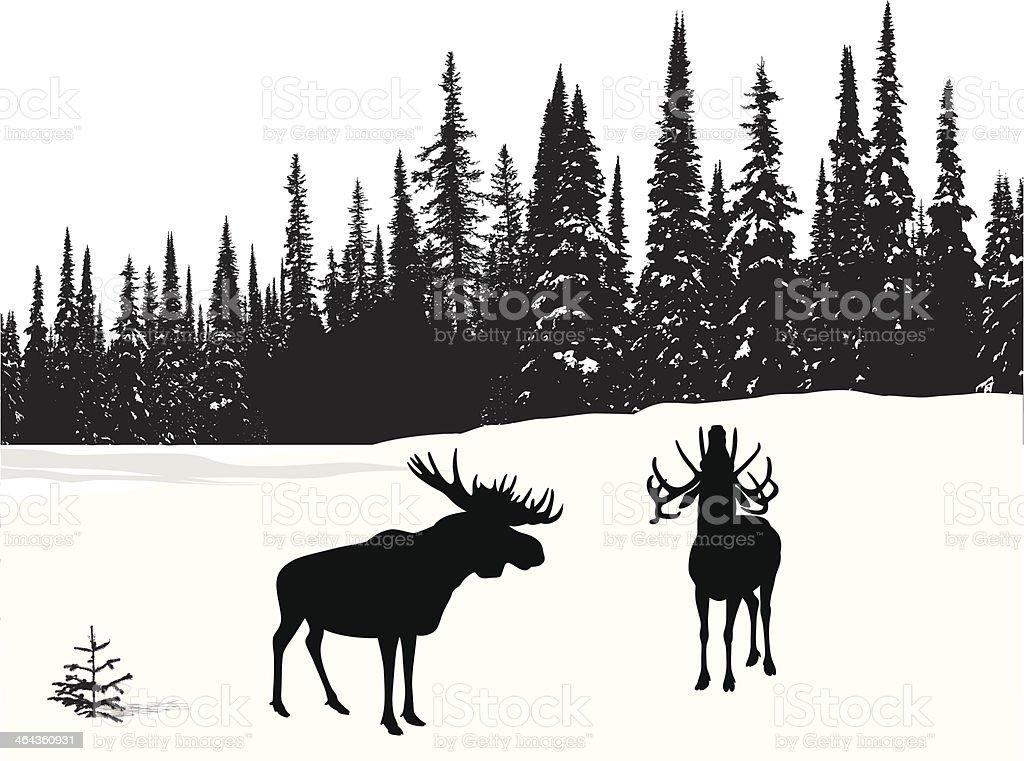 Moose Treeline vector art illustration