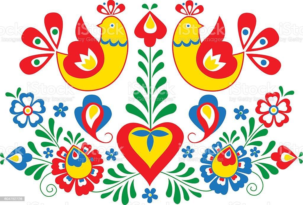 Moravian folk ornament vector art illustration