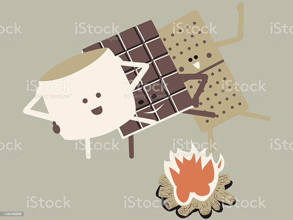 S'more Conga Line vector art illustration