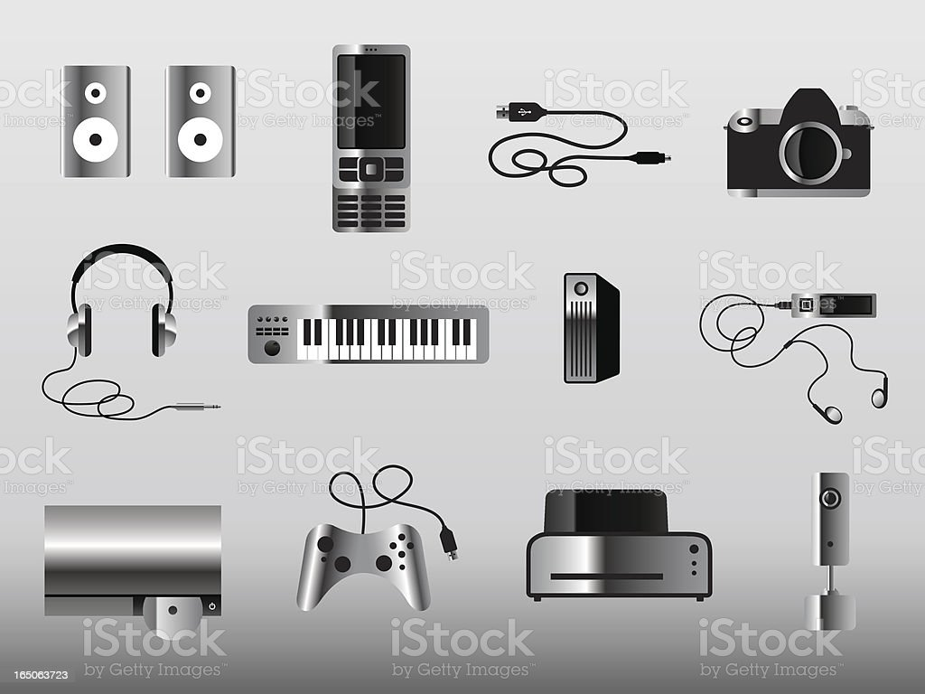 More Gadget Icons Metal royalty-free stock vector art