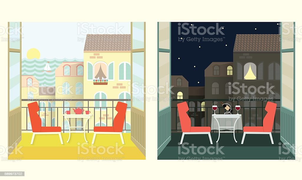 Morning and evening on the balcony.Flat style vector illustration. vector art illustration