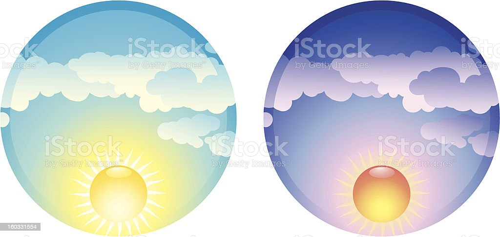 Morning and Evening royalty-free stock vector art