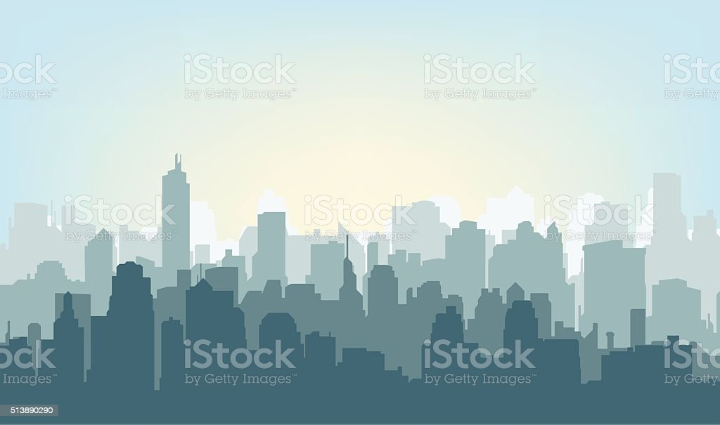 Morning city silhouette. vector art illustration
