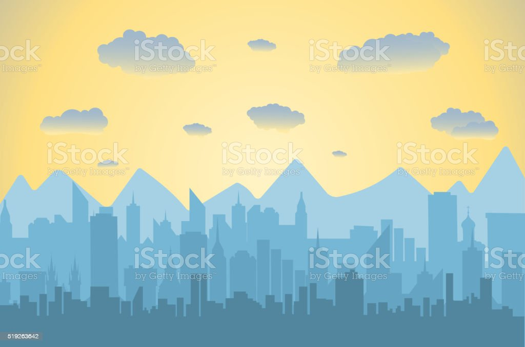 Morning city skyline. vector art illustration