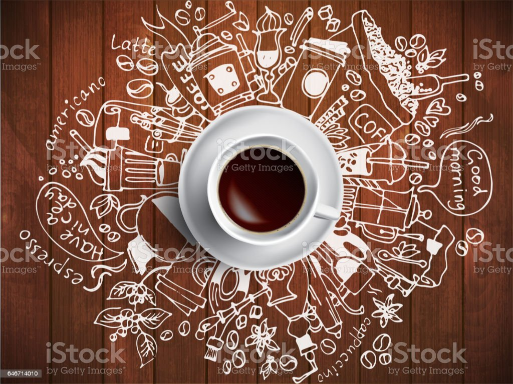 Morning coffee doodle concept on wooden background vector art illustration
