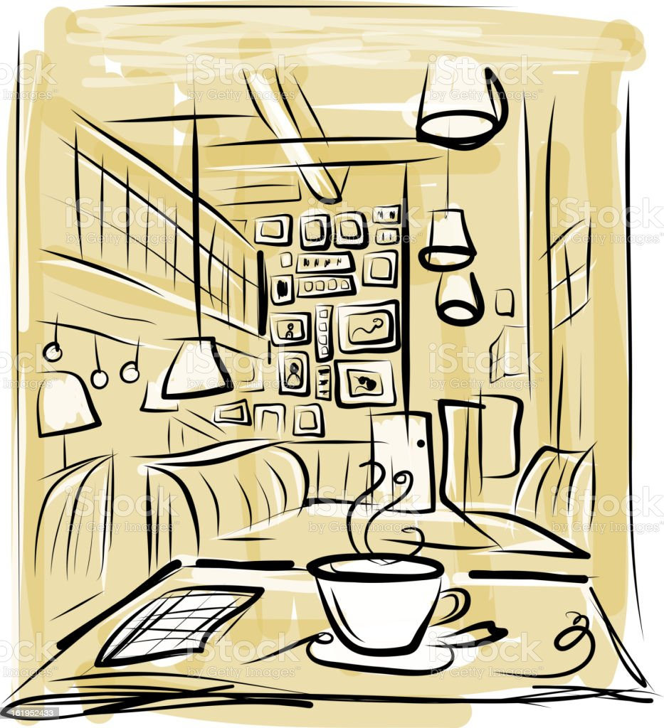 Morning coffee in cafe, sketch for your design royalty-free stock vector art