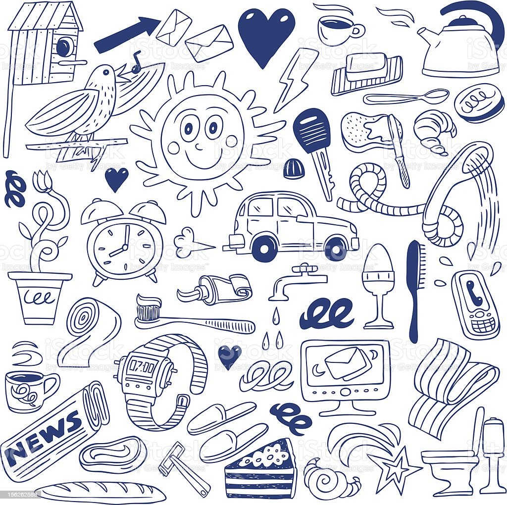 morning doodles collection vector art illustration