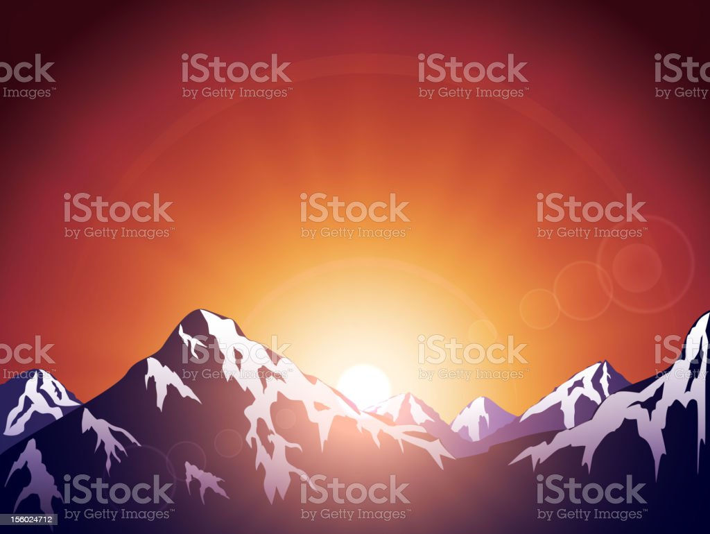 Morning in mountains royalty-free stock vector art
