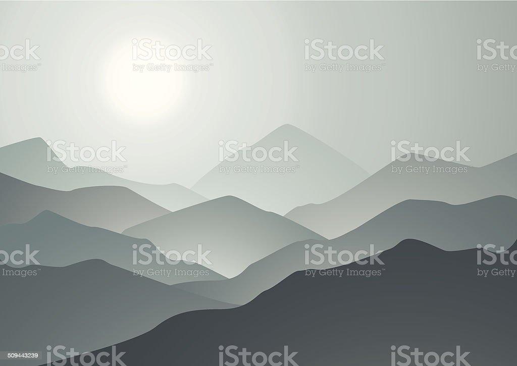 Morning mountains et le lever du soleil stock vecteur libres de droits libre de droits