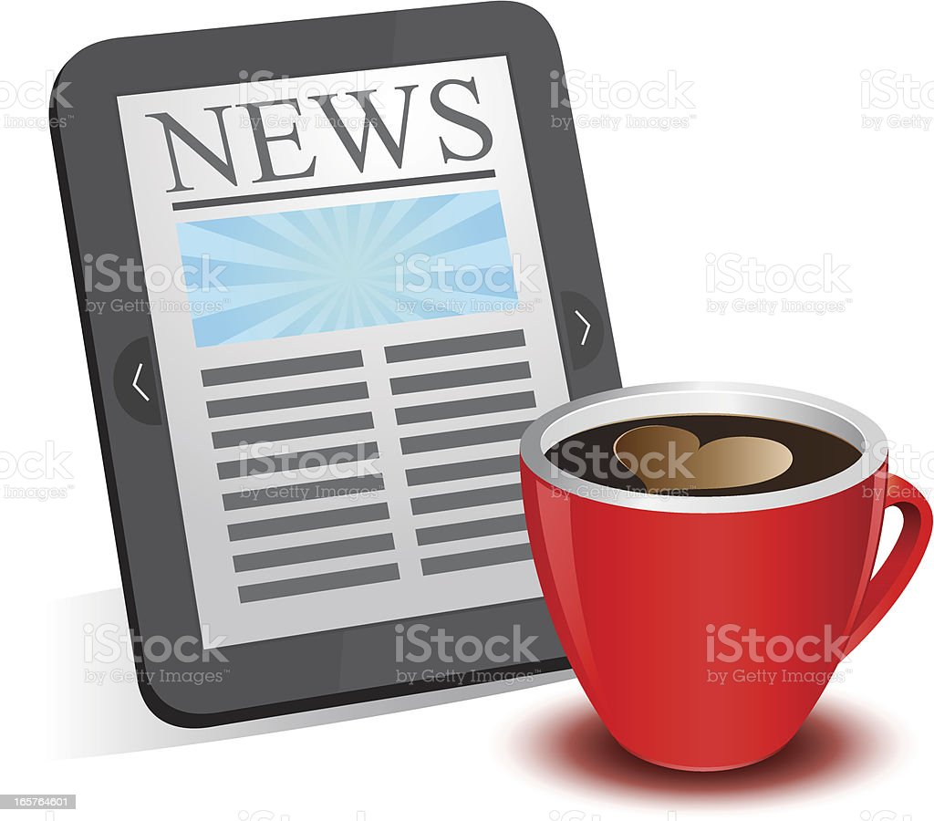 Morning news with tablet and cup of coffee royalty-free stock vector art