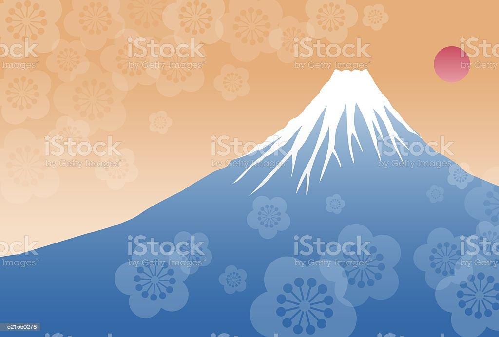 Morning sun and Fuji mountain vector art illustration