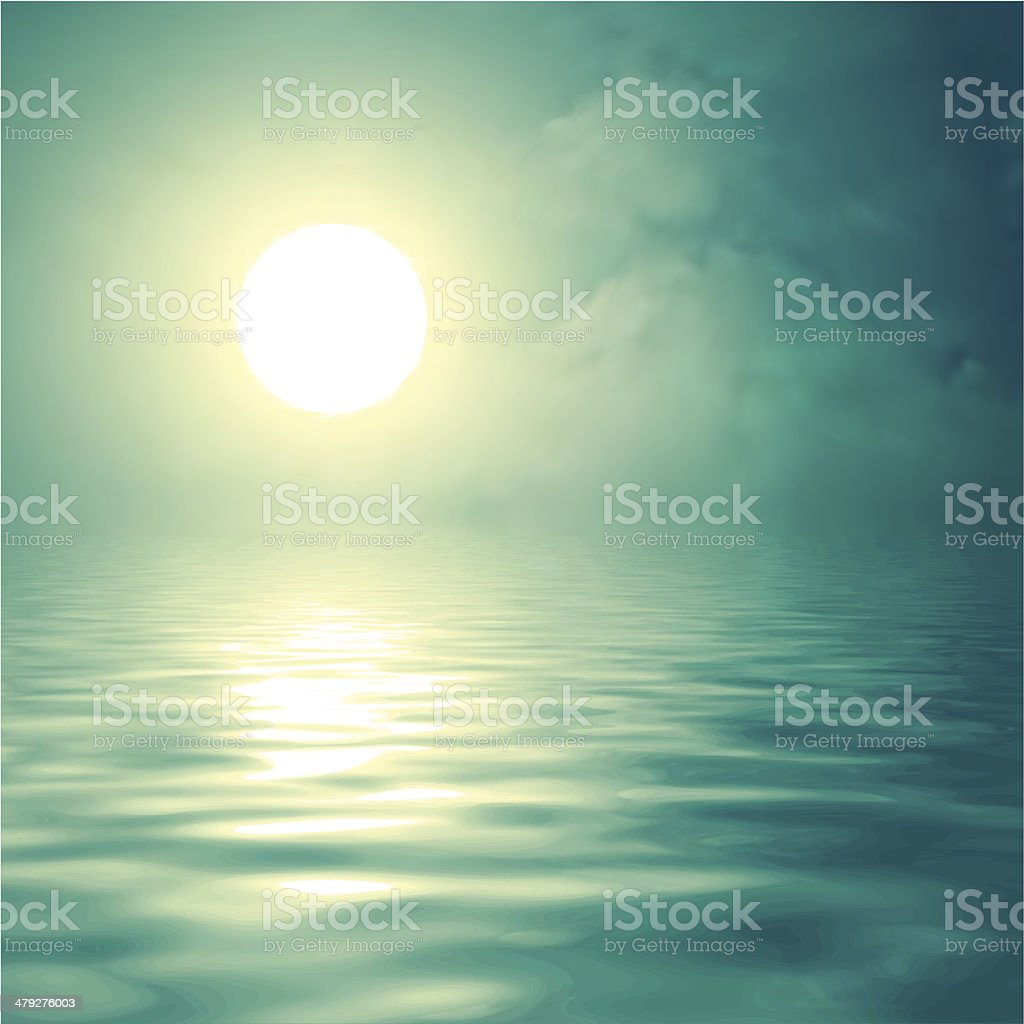 Morning sun over the water vector art illustration