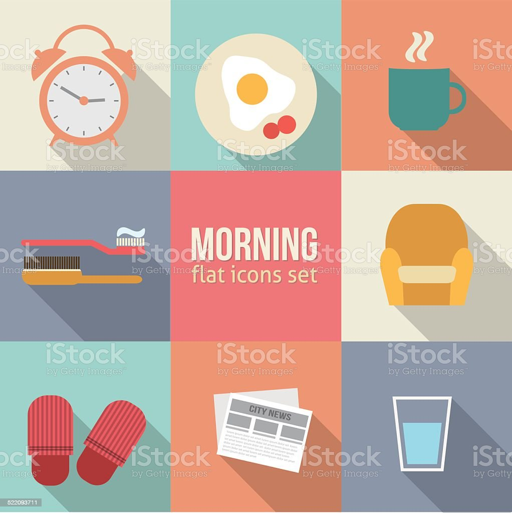 Morning time icons set. vector art illustration