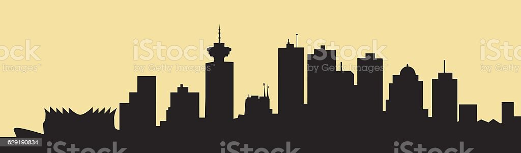 Morning Vancouver Skyline - Vector vector art illustration