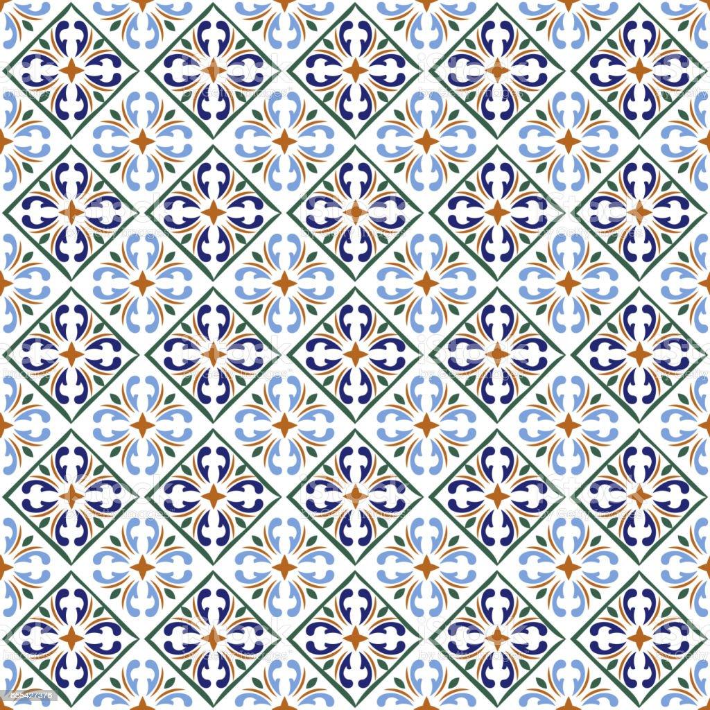 Moroccan blue tiles print or spanish ceramic surface vector pattern texture vector art illustration